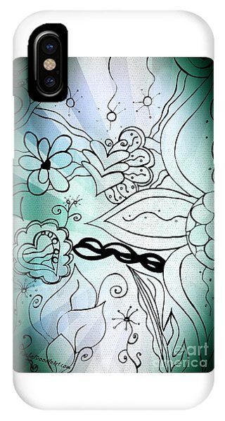 Blue Funky Flower Doodles IPhone Case