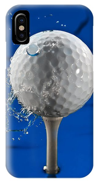 Golf Ball iPhone Case - Blue Golf Ball Splash by Steve Gadomski