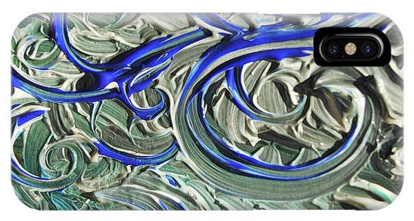 Organic Abstraction iPhone Case - Blue Gray Acrylic Brush Strokes Abstract For Interior Decor II by Irina Sztukowski