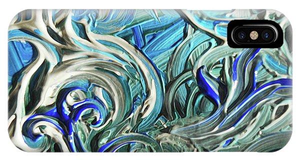 Organic Abstraction iPhone Case - Blue Gray Acrylic Brush Strokes Abstract For Interior Decor IIi by Irina Sztukowski