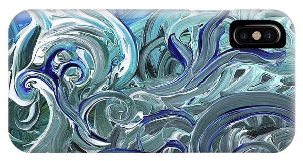 Organic Abstraction iPhone Case - Blue Gray Brush Strokes Abstract Art For Interior Decor Iv by Irina Sztukowski