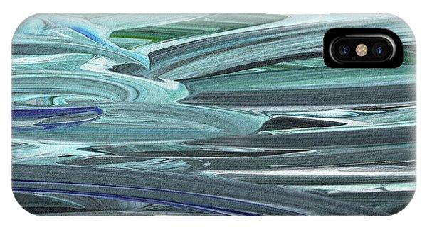 Organic Abstraction iPhone Case - Blue Gray Brush Strokes Abstract Art For Interior Decor Vi by Irina Sztukowski