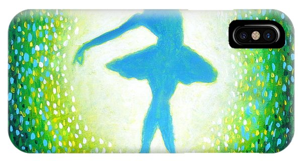IPhone Case featuring the painting Blue-green Ballerina by Bob Baker