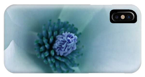 Abstract Blue Green White Flowers Macro Photography Art Work IPhone Case
