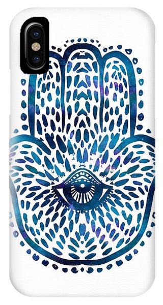 Blue Hamsa Hand IPhone Case