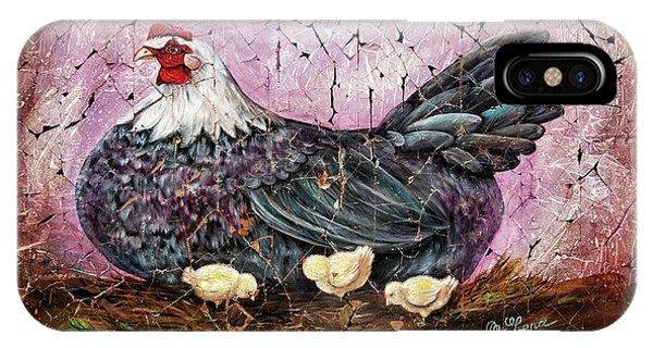 Blue Hen With Chicks Fresco Black Background IPhone Case