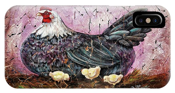 Blue Hen With Chicks Fresco Black Background IPhone Case
