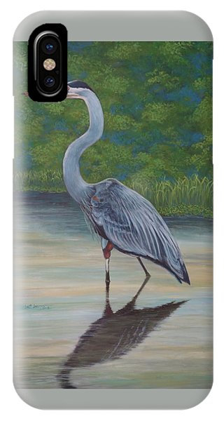 IPhone Case featuring the painting Blue Heron by Jeanette Jarmon