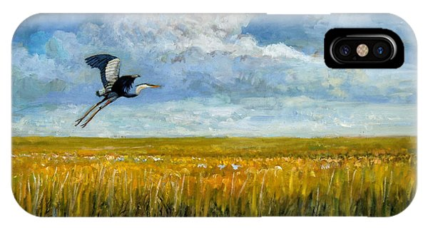 IPhone Case featuring the painting Blue Heron by Mel Greifinger