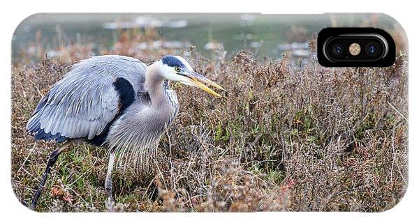 Blue Heron On The Hunt Phone Case by Eddie Yerkish