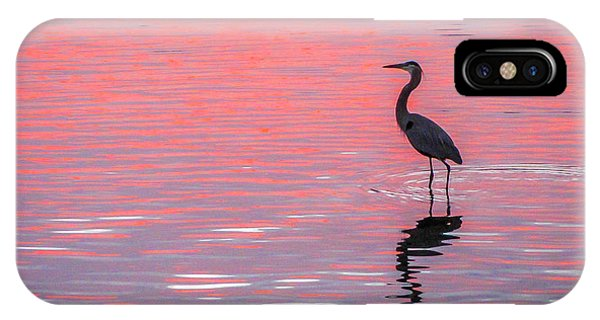 Blue Heron - Pink Water IPhone Case
