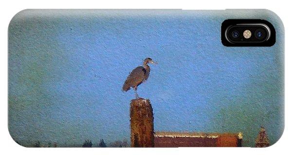 Blue Heron Sky Painted IPhone Case