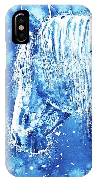 IPhone Case featuring the painting Blue Horse by Zaira Dzhaubaeva