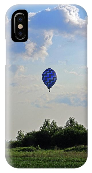 IPhone Case featuring the photograph Blue Hot Air Balloon by Angela Murdock