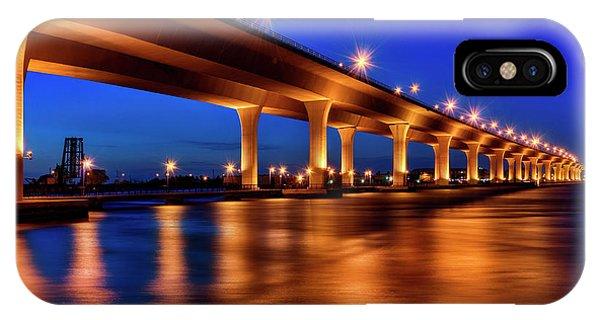 Blue Hour At Roosevelt Bridge In Stuart Florida  IPhone Case