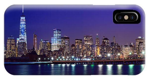 Blue Hour Panorama New York World Trade Center With Freedom Tower From Liberty State Park IPhone Case