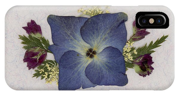 Blue Hydrangea Pressed Floral Design IPhone Case