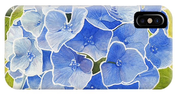 Blue Hydrangea Stained Glass Look IPhone Case