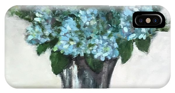 Blue Hydrangea's In Silver Vase IPhone Case