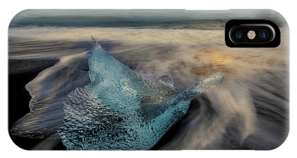 IPhone Case featuring the photograph Blue Ice Stranding by Rikk Flohr