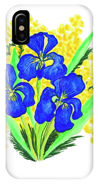 Blue Irises And Mimosa IPhone Case