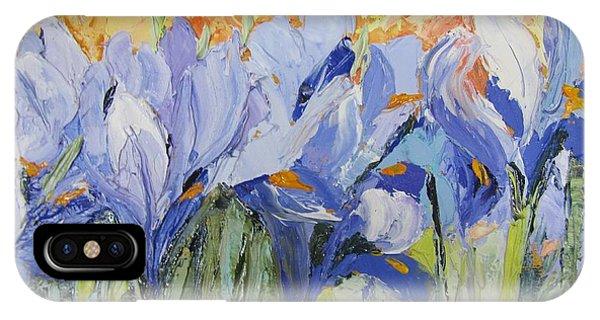 Blue Irises Palette Knife Painting IPhone Case