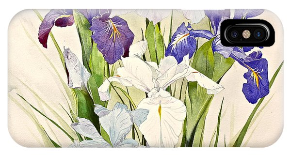 IPhone Case featuring the painting Blue Irises-posthumously Presented Paintings Of Sachi Spohn  by Cliff Spohn