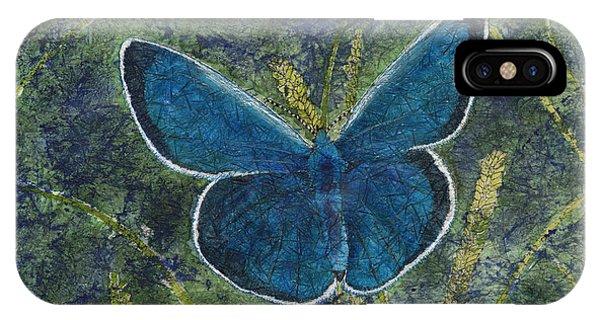 Blue Karner Butterfly Watercolor Batik IPhone Case