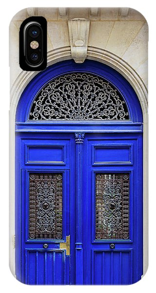 IPhone Case featuring the photograph Blue Lace Door - Paris, France by Melanie Alexandra Price