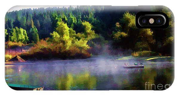 Blue Lake Spring Misty Geese  IPhone Case