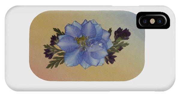 Blue Larkspur And Oregano Pressed Flower Arrangement IPhone Case