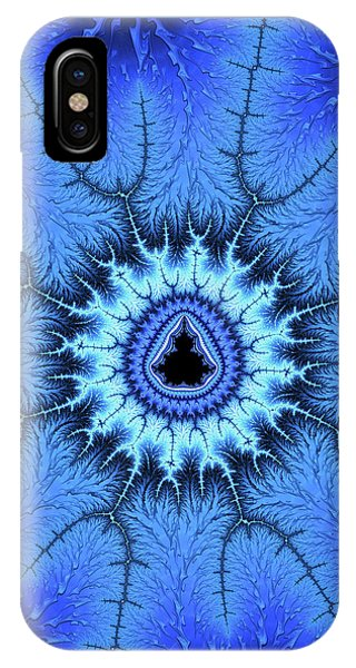 IPhone Case featuring the digital art Blue Mandelbrot Fractal Relaxing And Balanced by Matthias Hauser