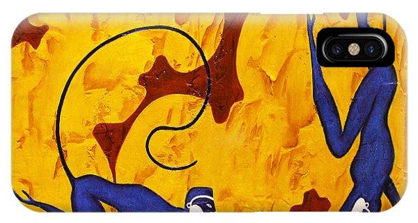 Bogdanoff iPhone Case - Blue Monkeys No. 45 by Steve Bogdanoff