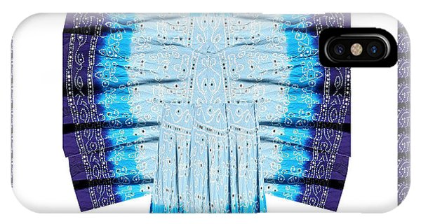 Blue Moon Butterfly Womens Fashion Couture From Jaipur India Cotton Printed Fabric With Embroidary W IPhone Case