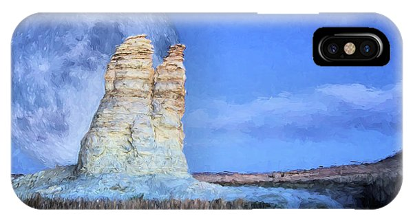IPhone Case featuring the digital art Blue Moon Over Castle Rock by Kyle Findley