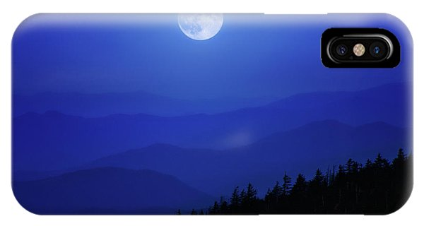 Blue Moon Over Smoky Mountains IPhone Case