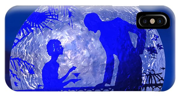 IPhone Case featuring the digital art Blue Moonlight Lovers by Deleas Kilgore