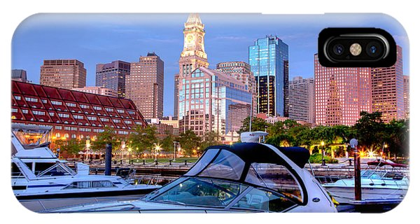 Powerboat iPhone Case - Blue Morning On Boston Harbor by Susan Cole Kelly