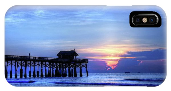 Tiki Bar iPhone Case - Blue Morning Over Cocoa Beach Pier by Carol Montoya