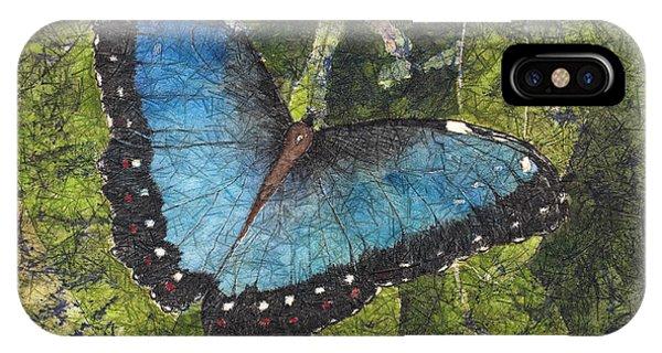 Blue Morpho Butterfly Batik IPhone Case
