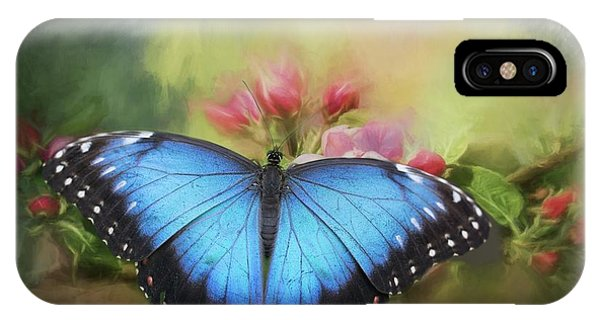 Blue Morpho On A Blossom IPhone Case