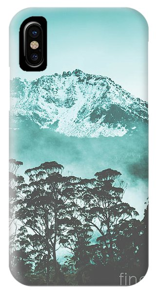 Monotone iPhone Case - Blue Mountain Winter Landscape by Jorgo Photography - Wall Art Gallery