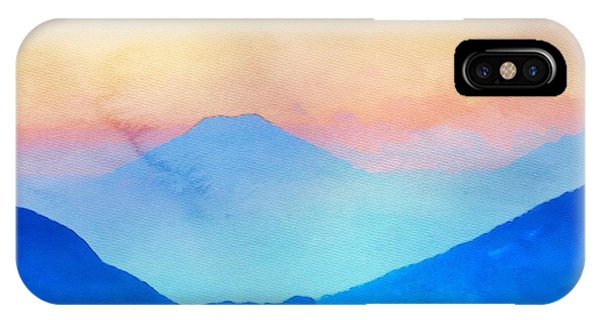 IPhone Case featuring the painting Blue Mountains Watercolour by Mark Taylor