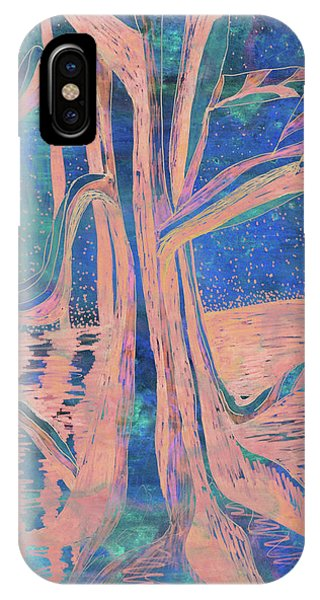 Blue-peach Dawn River Tree IPhone Case