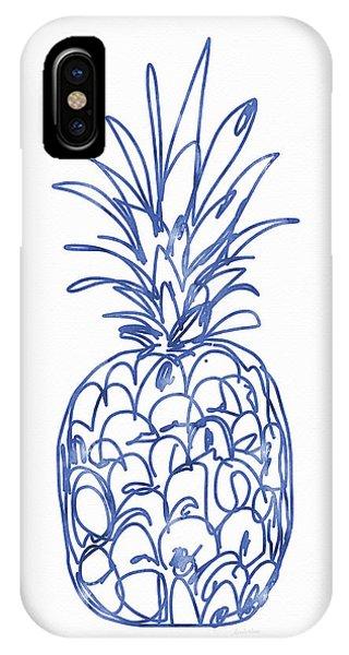 Blue Pineapple- Art By Linda Woods IPhone Case