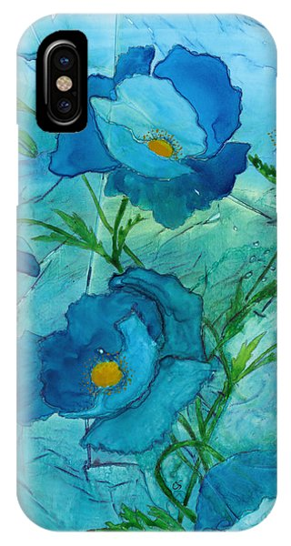 Blue Poppies, Watercolor On Yupo IPhone Case