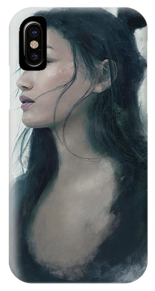 Female iPhone Case - Blue Portrait by Eve Ventrue
