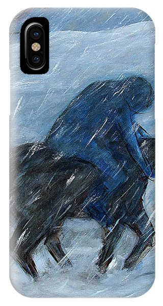 Blue Rider On Horse IPhone Case