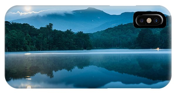 Nc iPhone Case - Blue Ridge North Carolina Full Moon Mountain Reflections by Mark VanDyke