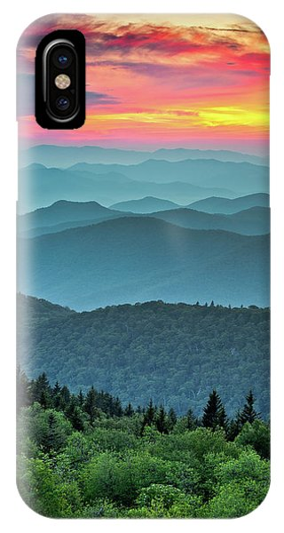 Nc iPhone Case - Blue Ridge Parkway Sunset - The Great Blue Yonder by Dave Allen
